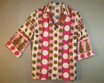 Vintage VERA Blouse, Pink Green Polka Dot // Polished Cotton, Roll-Up Sleeves, Button Front