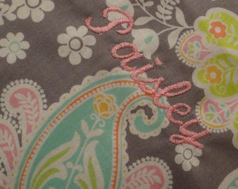 Personalized Floral Paisley Baby Blanket ~ Baby Girl Stroller Blanket w/minky dot backing