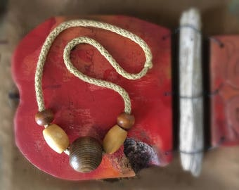 Vintage Oversized Wooden Bead Necklace