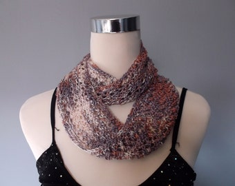 Hand knitted women's lacy infinity cowl scarf neckwarmer. Summer lightweight cowl fashion accessory. Cream, mauve and dusky rose.