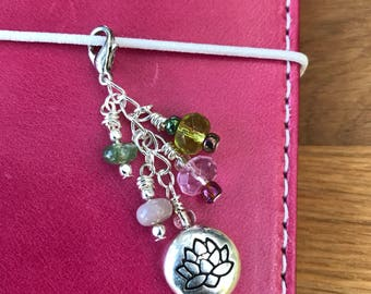 Lotus flower beaded travelers journal charm Dangle for planner, purse, or cell phone