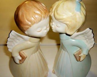 Kissing angels, hand painted ceramic pair, 1982