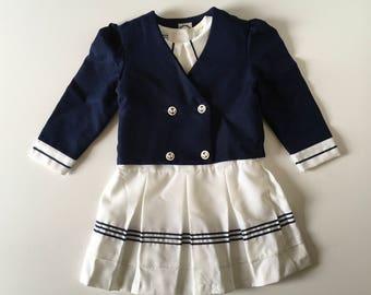 Vintage Polyester Sailor Dress & Jacket (4t)