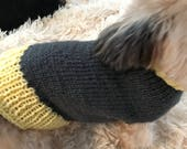 Yellow and Grey Dog Sweater Hand Knit Small