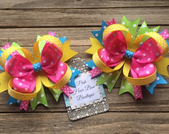 Beautiful Pigtail Bows, Pink Yellow Green and turquoise pigtail hair bows, sold individually or as a set of 2, Spring Pigtail Bows