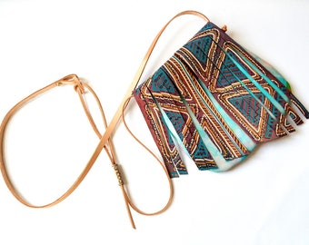 Unique Gift For Her, Hand Painted Leather Fringed Small Crossbody Bag, Girlfriend Gift, Wife Gift, Fringed Leather Bag, Small Leather Bag