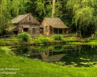 Cuttalossa Farm, Landscape Photograph, Spring, Pond, Reflection, Bucks County, Pennsylvania, Trees, Historic Architecture, Mill, Art Print