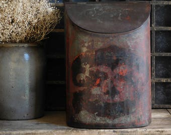 Antique Tea Tin Bin, Coffee Bin, Primitive Antiques, Mercantile Store Display