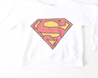 vintage SUPERMAN size 5t 6 year old white 80s authentic SWEATSHIRT top kids vintage