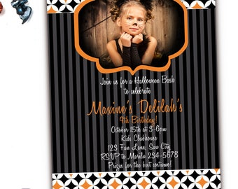 Kids Halloween Birthday Invitations,  Halloween Party Invitations, Kids Halloween Costume Party Invitation, Personalized Halloween Invites