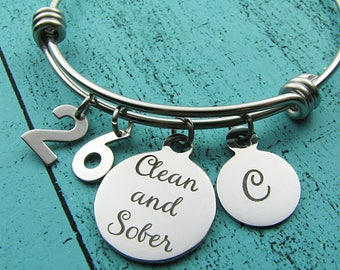 AA recovery gift, sobriety gift, mental health awareness, clean and sober bracelet, sobriety anniversary year, NA addiction recovery jewelry