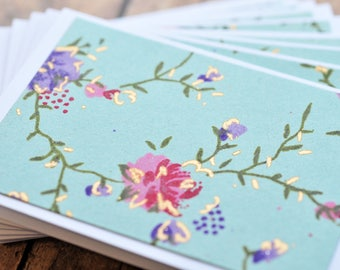 Rose Mini Cards // Set of 10 // Blank Cards // Gift Card Envelopes // Floral Note Cards // Love Notes // Advice Cards // Enclosure Cards