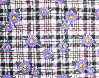 90's Back to School Sunflower Fabric in Violet Purple . 1990s Spring Floral Fabric . Floral Plaid Material Out of Print Rare
