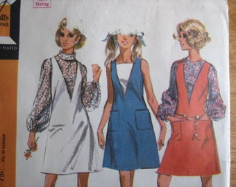 McCall's Pattern 9738 Misses' Dress or Jumper and Blouse     1969      Uncut