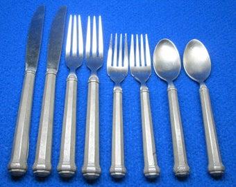 """Gorham pewter flatware - 2 knives 8 3/4 """" 2 dinner forks 7 1/2 """" , 2 salad forks 6 1/2 """", 2 teaspoons 6 3/8 """""""