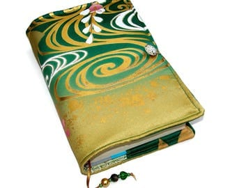 Book Cover in Vintage Kimono Silk, Bible Cover, Golden Swirls, for Hardback Books or Paperback Books in Small to Medium Size, UK Seller
