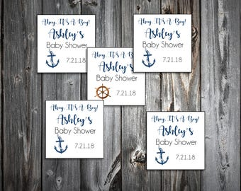 25 Nautical Ahoy It's a Boy Baby Shower Favor Stickers. 2 inches by 2 inches.  Price includes personalization and printing.