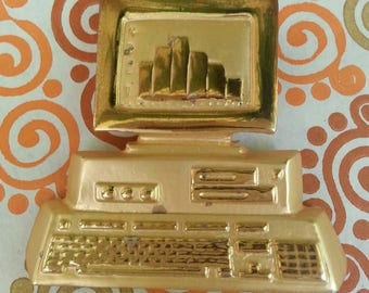 Vintage 1980s Computer And Keyboard Pin Brooch Gold Goldtone Floppy Hard Disk Era PC Retro Desktop 80s Costume Jewelry