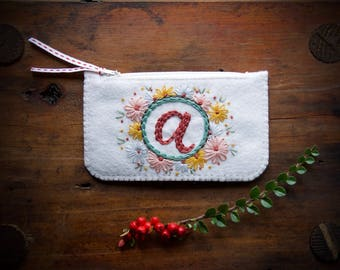 Personalized Felt Make-Up Coin Purse Wallet ø Hand Embroidered ø LoftFullOfGoodies ø Stocking Stuffer ø Holiday Gift