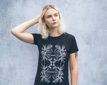 Fawn and Thistle Black Screen Printed Punk Collage T-Shirt