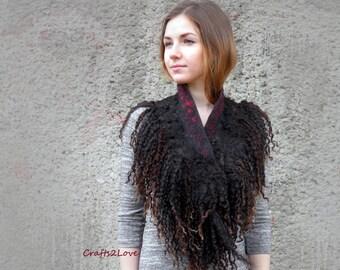 Felted collar, felted wool locks neckwarmer, wool curls, natural black  felt scarf cowl, coffee brown,  eco fur, felt fur, raw wool, red
