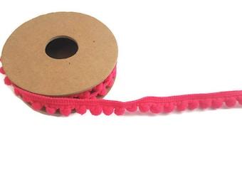 Pink pom pom trim ball ribbon by the yard elastic trim haberdashery tassel ribbon polyester craft ribbon pom pom