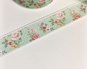 Mint Polka Dot with Pink and Yellow Floral Vintage Floral Washi Tape 11 yards 10 meters 15mm