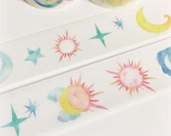 Bright Colorful Watercolor Sun Moon Stars Sky Washi Tape 5.5 yards 5 meters 25mm