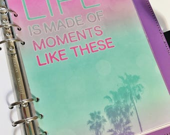 A5 Size Hot Pink and Teal Ombre Quote Palm Trees Tropical Neon Lights Laminated Dashboard A5 Filofax Large Kikki k Planner