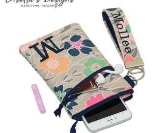 Modern Floral iPhone 7 Wristlet with Asymmetric pocket, Personalized iPhone 6 / 6 plus wallet, Samsung Galaxy S8 / S8 plus sleeve. (PKWAZ)