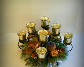 CLEARANCE SALE Elegant Christmas Magnolia Centerpiece Wrought Iron Candle Centerpiece Holiday Sugar Gilded Fruit Table Floral Arrangement Ho