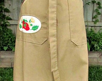 vintage 70s tan wrap skirt w counted cross stitch strawberries pocket hand made