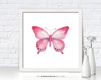 Pink Butterfly Painting, Butterfly Print, Original Pink Butterfly Watercolor, Butterfly Greeting Cards, 108 Pink Laglaizei Butterfly