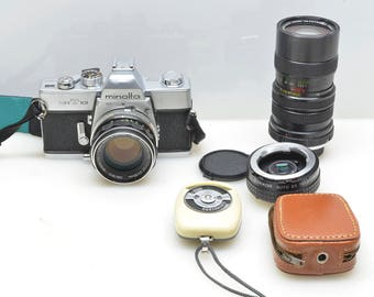 Vintage Minolta SRT 101 35mm SLR Manual Film Camera with Two Lenses, 2X Lens Extender and Agfa Light Meter, Zoom Lens, Photography Outfit