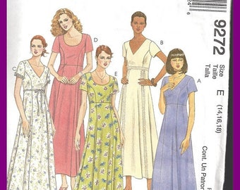 ON SALE McCall's Misses Long Dress UNCUT Pattern 9272 Empire Princess Sizes 14 16 18
