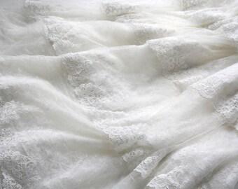 White Wedding Dress Lace Fabric, White Lace,  Bridal Lace, Bridal Veil, Baptism Dress, DIY Wedding Dress, Teared Lace Dress