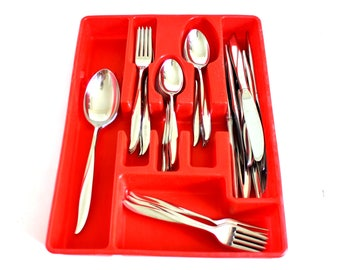 Retro Stainless Flatware Set Service for 8 or 4 Stegor Waikiki Silverware Mid Century Modern, Red Plastic Nu-Dell Storage Tray