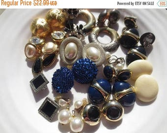 30% OFF SALE Vintage Jewelry Earrings Clip On Crafting Lot (14)