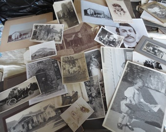 Antique Photography Lot Assorted Mix 78 Pieces Originals Cabinet Cards Early 1900s Paper Ephemera Collectibles