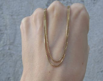 Vintage 18k Yellow Gold Box Chain Necklace
