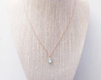 Ophelia Necklace || Teardrop Necklace, Opal Necklace, Crystal Necklace, Short Necklace, Minimalist Jewelry, Dainty Necklace