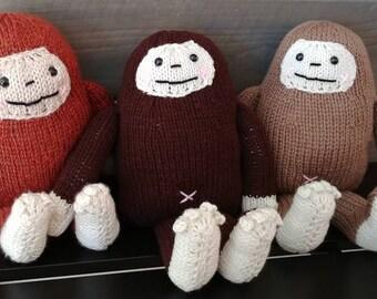 Sampson the Sasquatch - hand knit plush Bigfoot Yeti friends - choose your color!