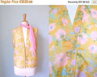 50%DISCOUNT 60s pastel yellow pink blue floral sleeveless blouse L