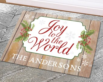 Joy To The World Personalized Doormat, Family, Christmas Decor, Holiday  Doormat, Custom