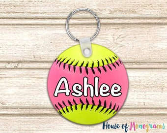 Personalized Softball Keychain