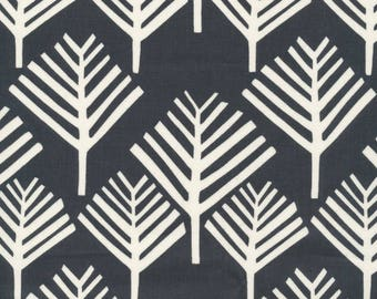 LAMINATED cotton fabric (similar to oilcloth) by the yard - Organic Matte - Tree Forest Black - WIDE