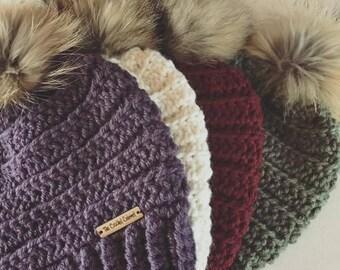 PATTERN ONLY, Lennox Beanie Pattern, Crochet Pattern, Winter Hat Pattern, Hat Pattern, Beanie Pattern, Fur Pom Hat, Pom Hat Pattern