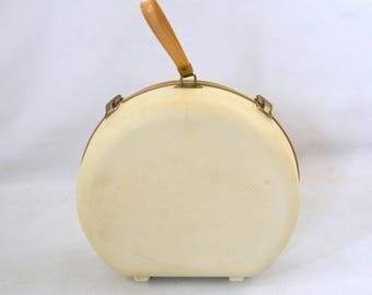 1960s Vintage Off White Portable Hair and Nail Dryer by General Electric, White Hard Shell Case