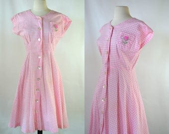 1950s/1960s Pink and White Gingham Sleeveless Shirtwaist Dress