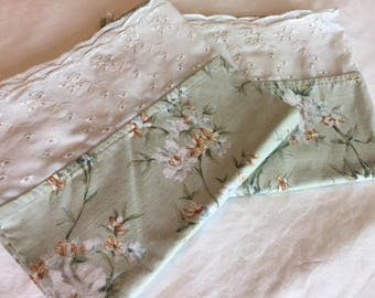 Vintage Pillowcases, Sage Green with White Flowers, cottage Chic, Shabby Chic